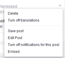 Pulldown menu Facebook posting