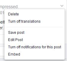 Pulldown menu Facebook posting