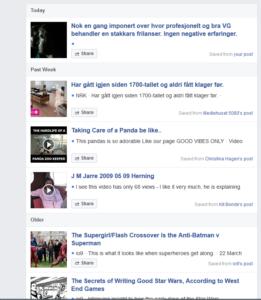 Saved list in Facebook