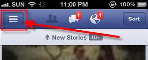 Main menu Facebook cell phone