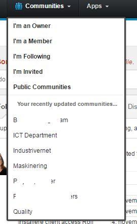 Communities menu