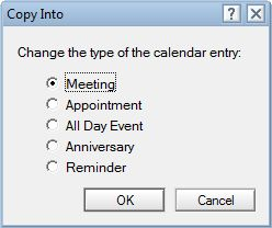 Choose calendar entry type