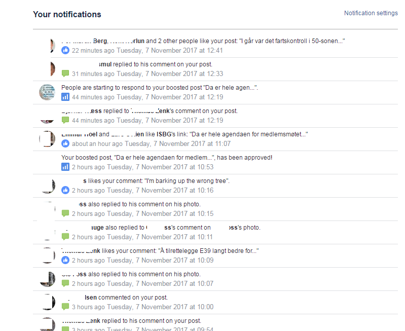 All notifications