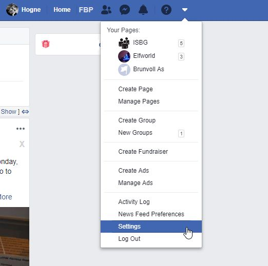 Facebook settings pulldown