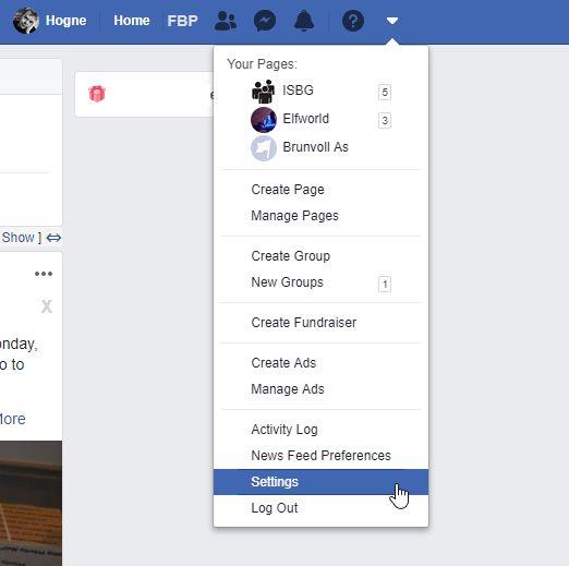 Facebook settings pulldown