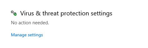 Virus protect settings