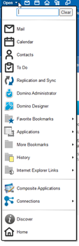 Bookmark menu in HCL Notes