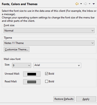 Fonts colors and themes