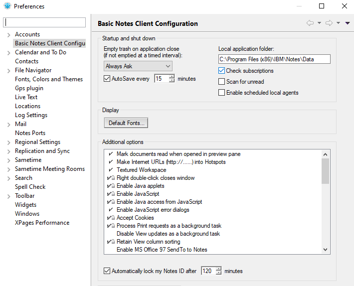 Basic Notes Client Configuration