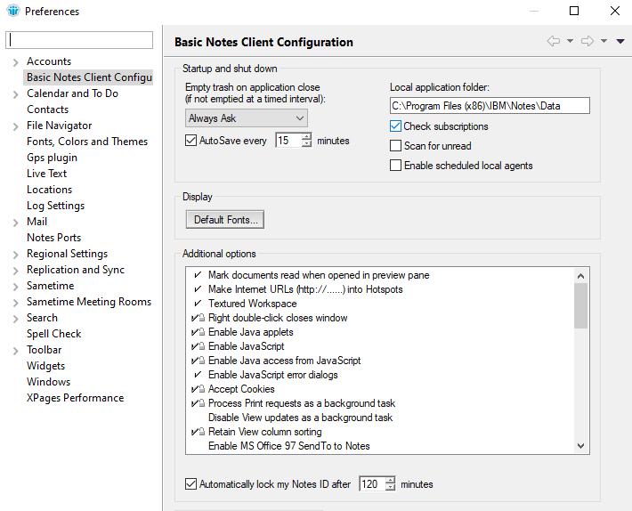 Basic Notes Client Configuration
