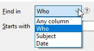 Choose search column in HCL Notes View