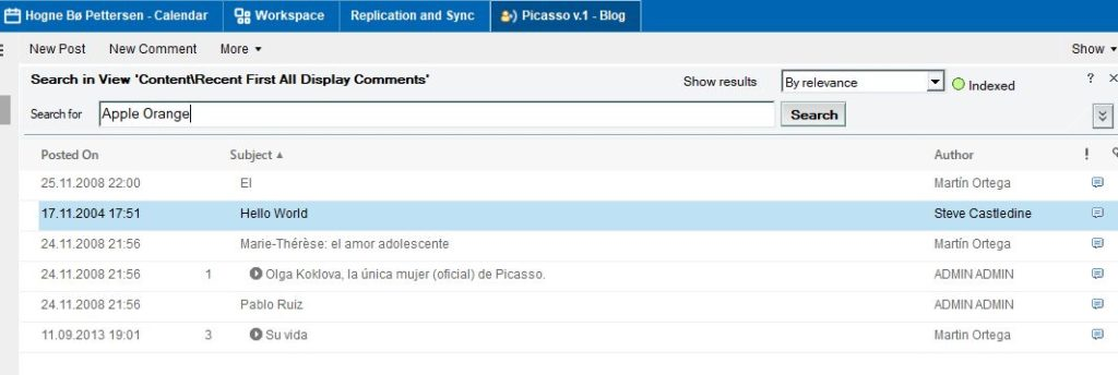 Search this view in HCL Notes V11.01