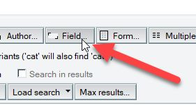 Field button in Search This View in HCL Notes