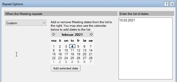 Custom repeating meetings in HCL Notes