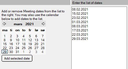 Selected custom dates
