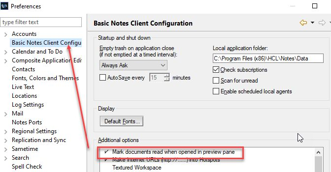 HCL Notes Preferences for read in preview pane