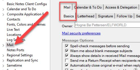 Mail settings in HCL Notes