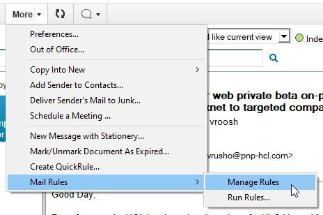 Manage Mail Rules