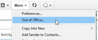 More -> Out of Office