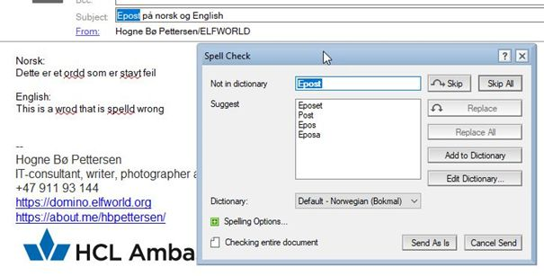 Spell check before sending an email in HCL Notes