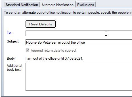 Alternate Notification - Out of Office