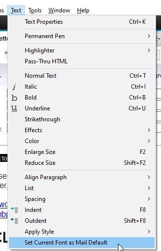 Set Current Font as Mail Default