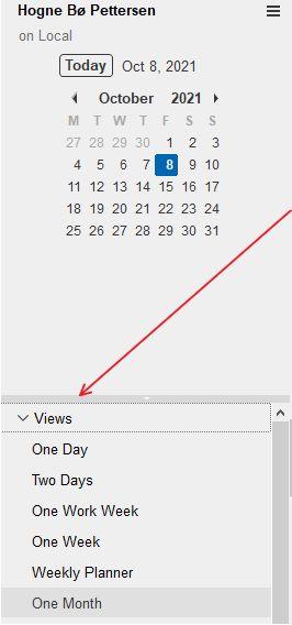 Calendar Views menu in HCL Notes